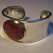 Sterling Cuff Bracelet with Red Stone, Mexico