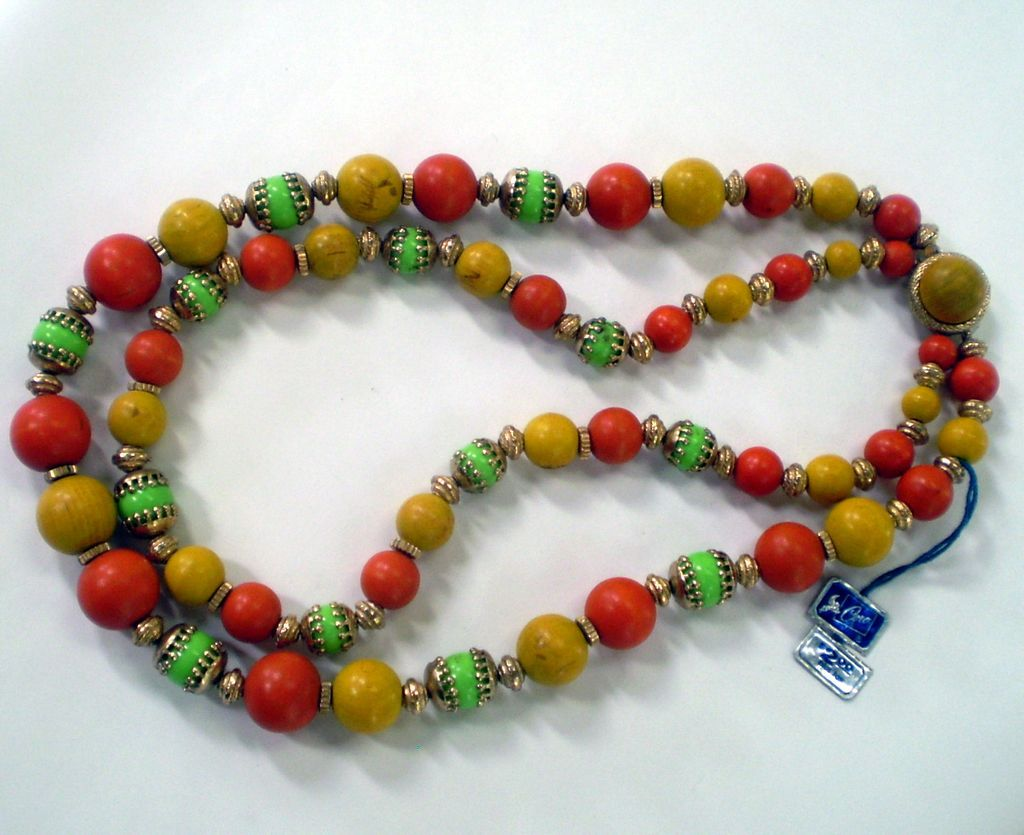 Coro Pegasus Colorful Two-Strand Wood Bead Necklace