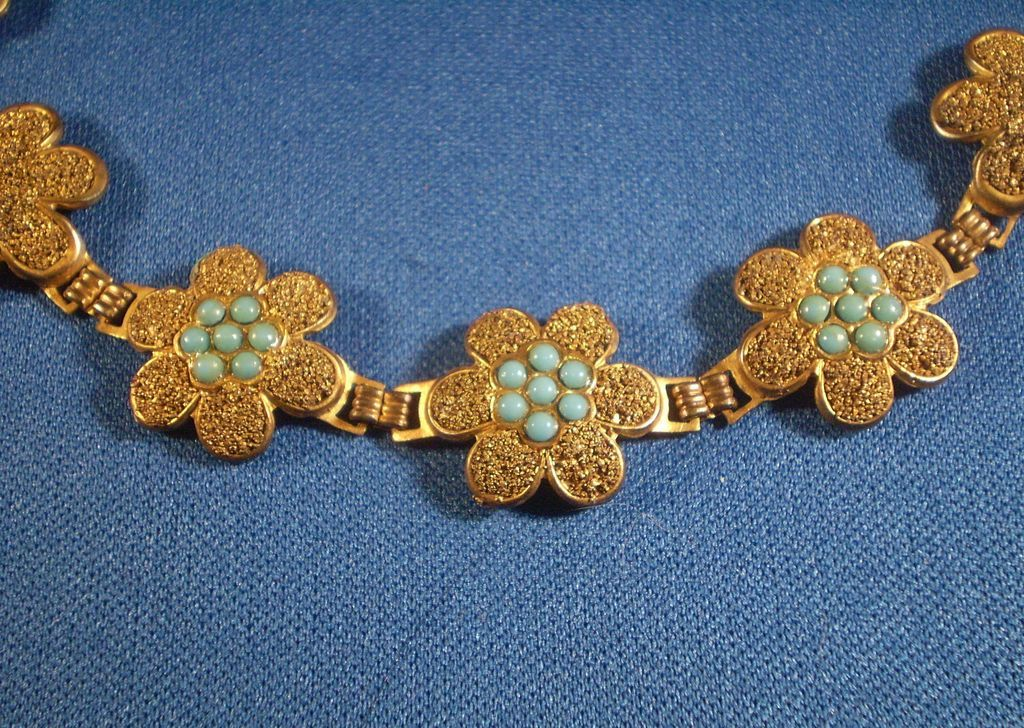 Gilded Brass Bracelet with Faux Persian Turquoise Stones