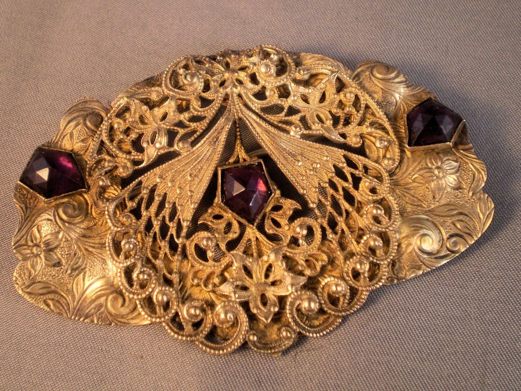 Art Nouveau Sash Pin with Purple Glass Stones