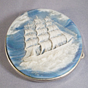 Vintage Incolay Ship Belt Buckle