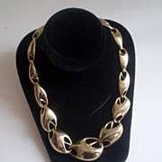 Linked Goldtone Modernist Necklace