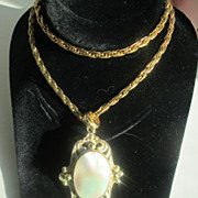 Large Faux Mother-of-Pearl Pendant on Long Chain