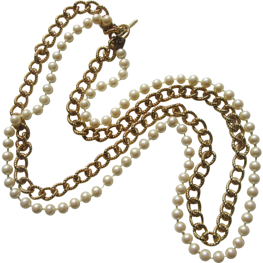 Anne Klein Faux Pearls and Gold-Tone Chain Necklace