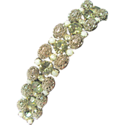 Mid-Century Rhinestone and Filigree Bracelet