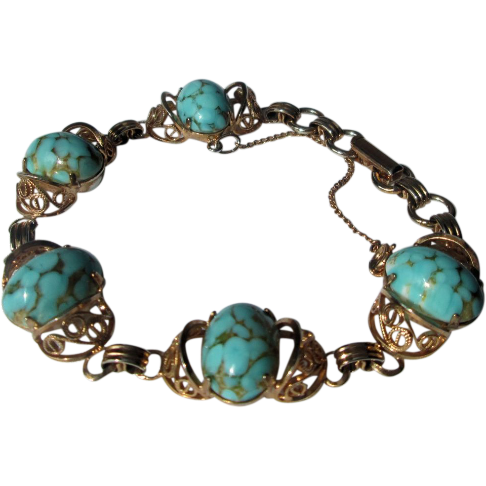 Filigree and Simulated Turquoise 12K Gold-Filled Bracelet