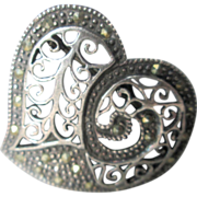 Pretty Sterling and Marcasite Heart Brooch/pin