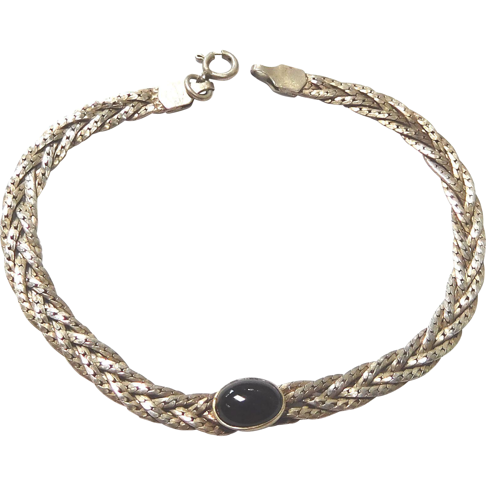Braided Sterling Silver Bracelet with Black Onyx