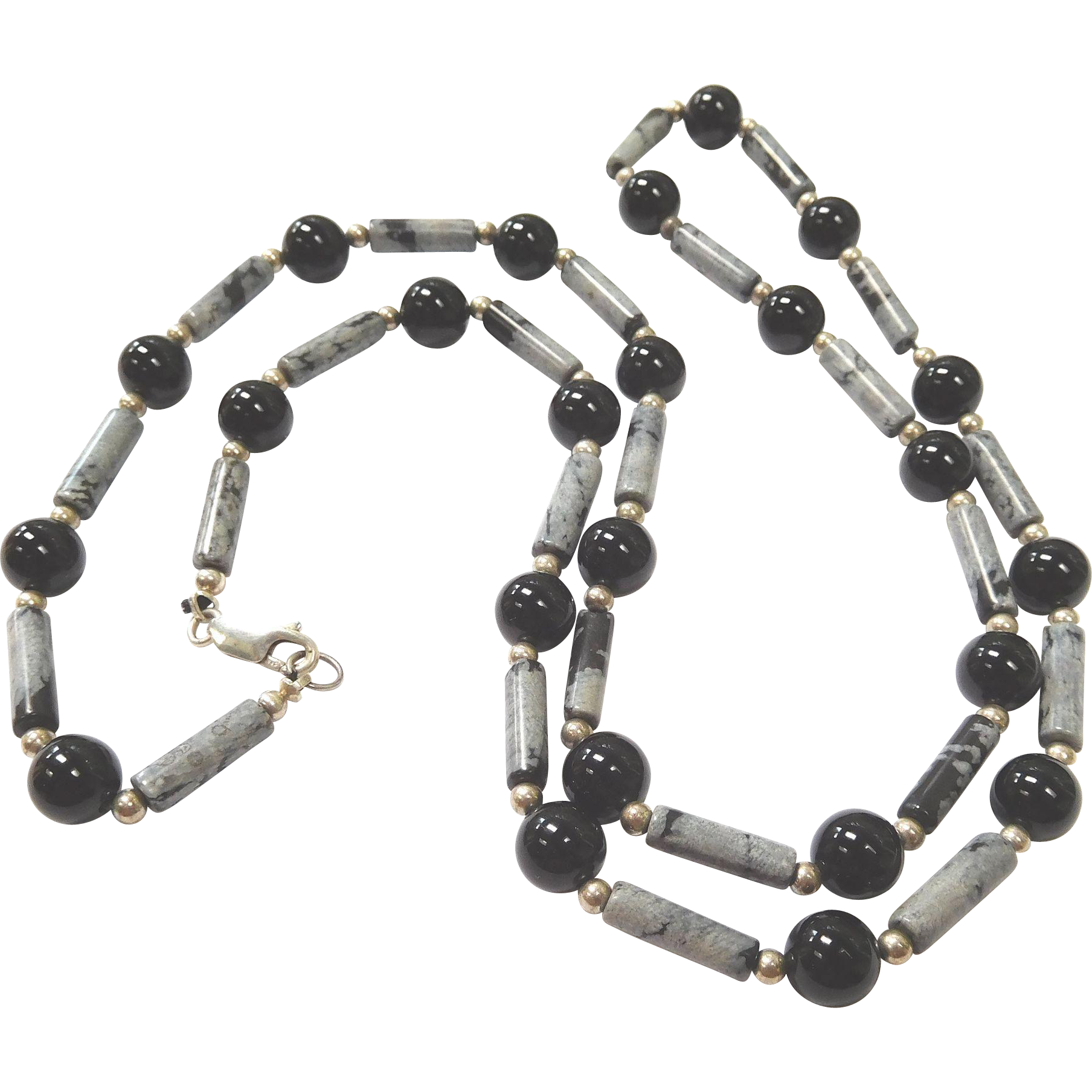 Black and Snowflake Obsidian and Sterling Bead Necklace