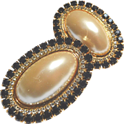 Big, Bold Kirks Folly Faux Pearl and Rhinestone Clip Earrings