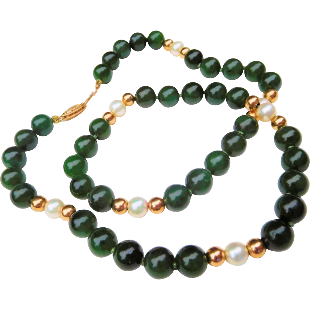 Jade (Nephrite), Pearl, and 14K Gold Beaded Necklace