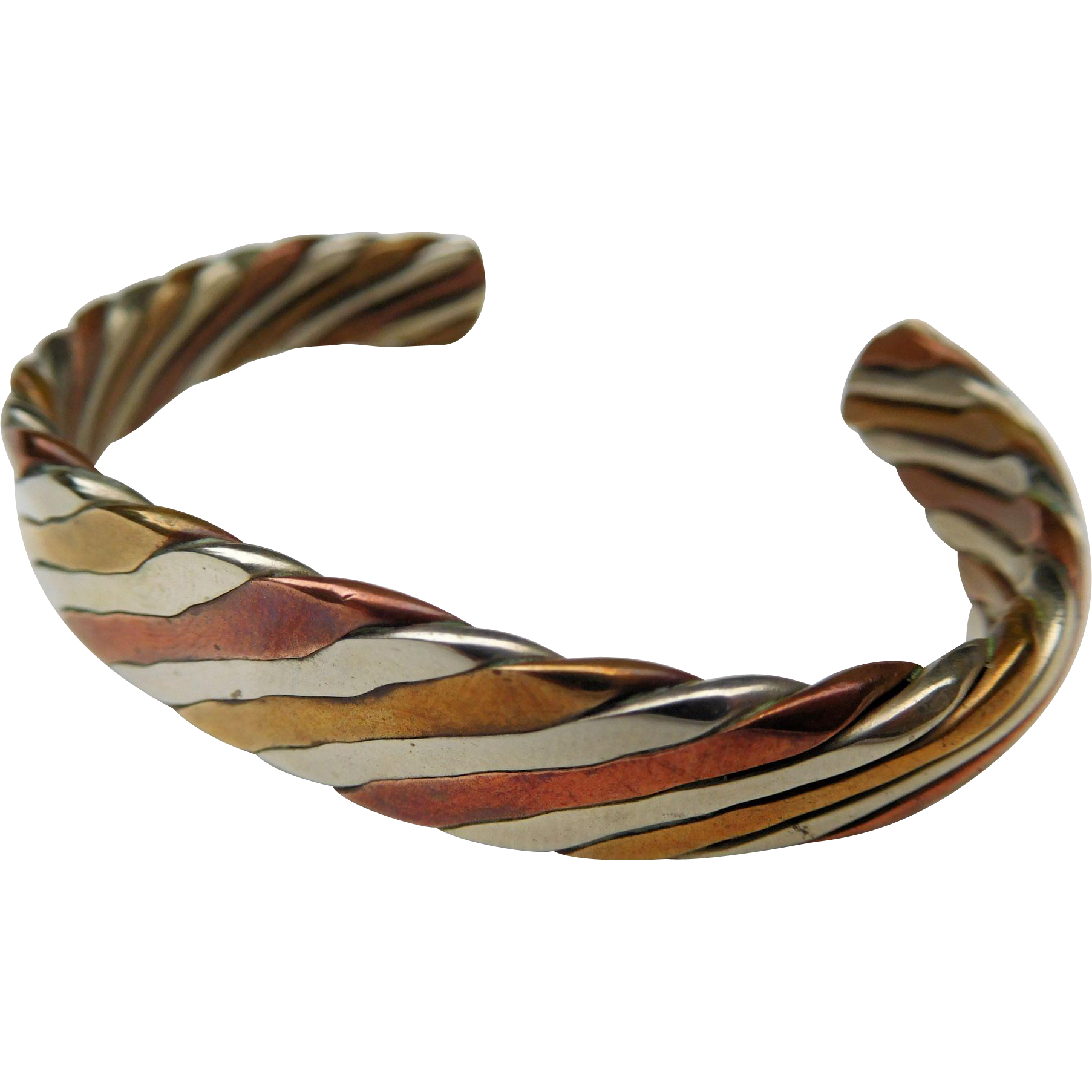 Silver, Brass, and Copper Cuff Bracelet