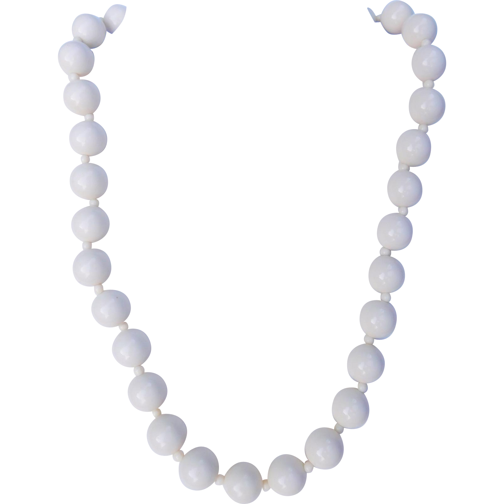 White Lucite Bead Necklace
