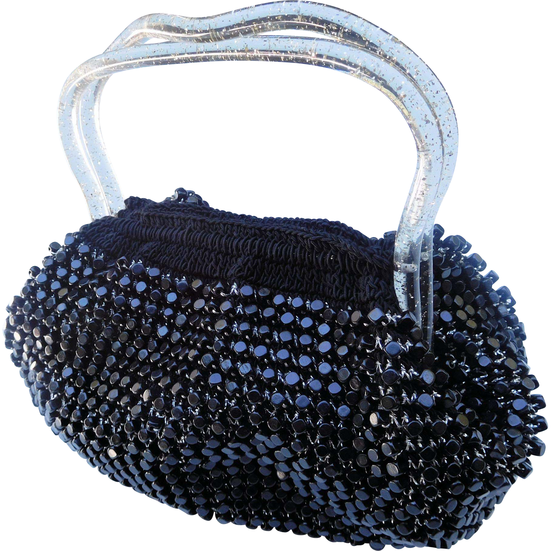 Beaded & Crocheted Bag, Lucite Handles and Bottom, 1960s