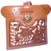 Tooled and Carved Leather Handbag from Mexico, Davalos