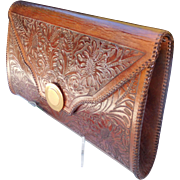 Traditional Tooled Leather Clutch Bag, Mexico