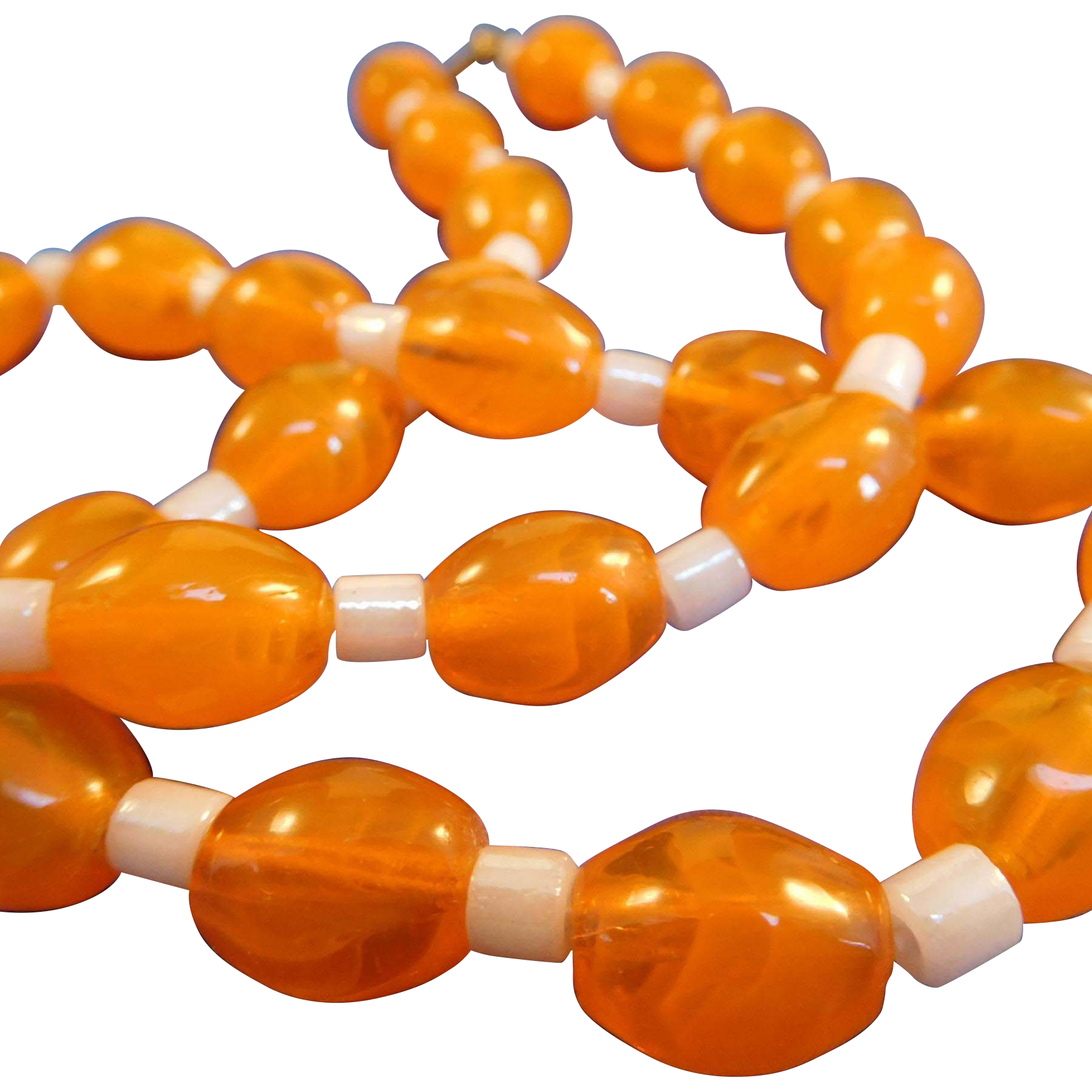 Czech Art Glass Bead Necklace, Orange
