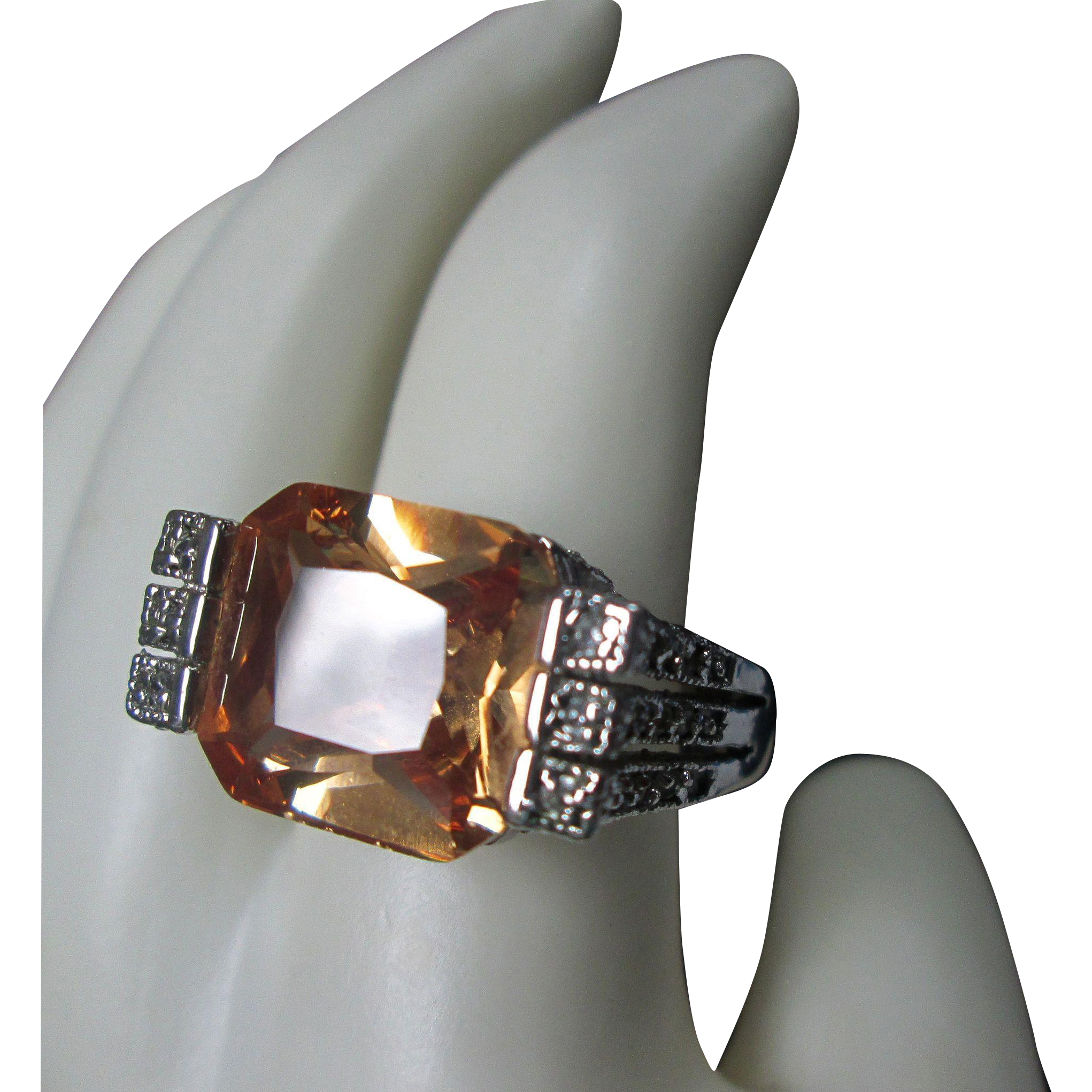 Fancy Cut Faux Citrine Sterling Ring