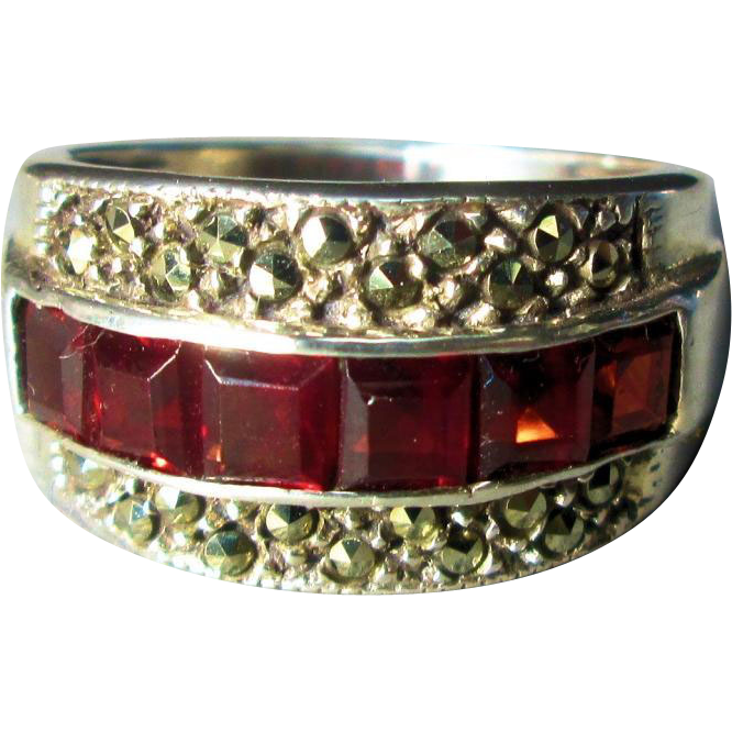 Faux Garnet and Marcasite Sterling Ring