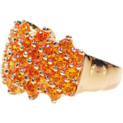 Sparkling Simulated Tangerine Citrine Gold Over Silver Ring