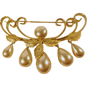 Glass Pearl, Gold Plated Art Nouveau Influence Brooch
