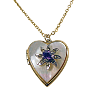 Bugbee & Niles Gold Filled Locket with Mother of Pearl Heart