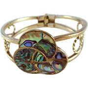 Alpaca Silver and Abalone Clamper Bracelet, Mexico