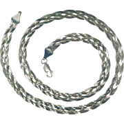 "20"" Braided Sterling Herringbone Necklace, Mexico"