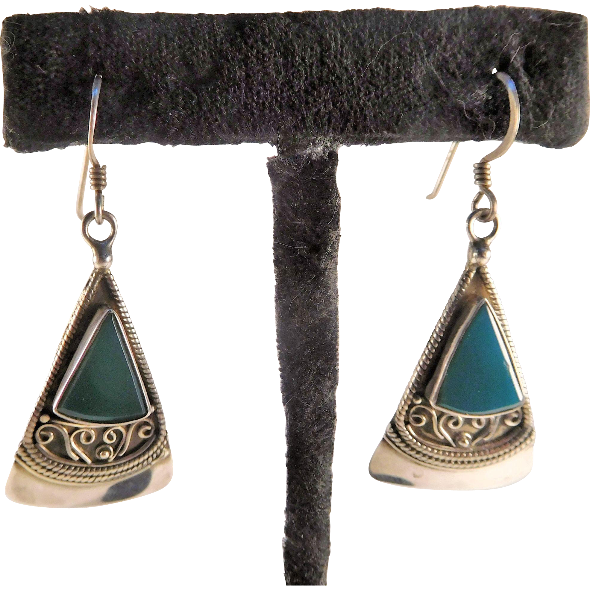 Sterling and Teal Green Onyx Earrings
