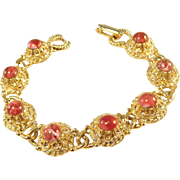 High-Set Red Stone & Gold Tone Bracelet