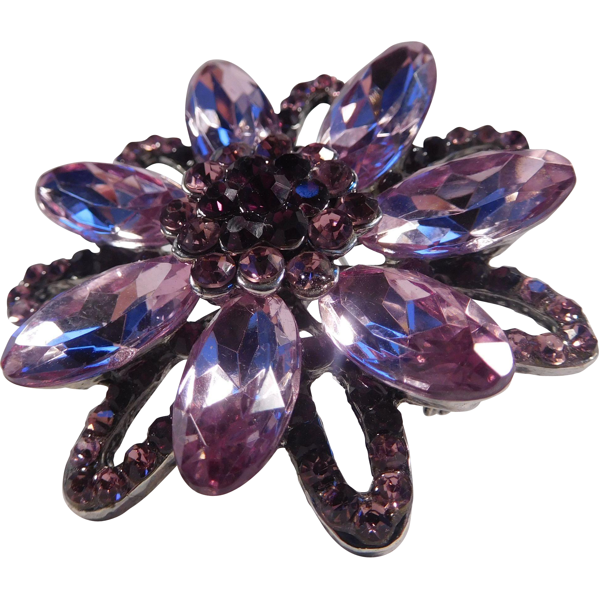 Dusty Pink and Purple Rhinestone Flower Brooch