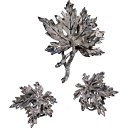 Brushed Silvertone BSK Brooch & Earrings, Layered Leaves