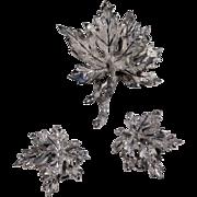 Brushed Silvertone BSK Brooch & Earrings, Layered Leaves