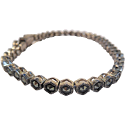 Deco Style Sterling and Marcasite Line or Tennis Bracelet