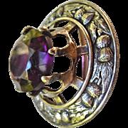 Huge Antique Kilt Pin/Brooch/Pendant Purple Glass Stone