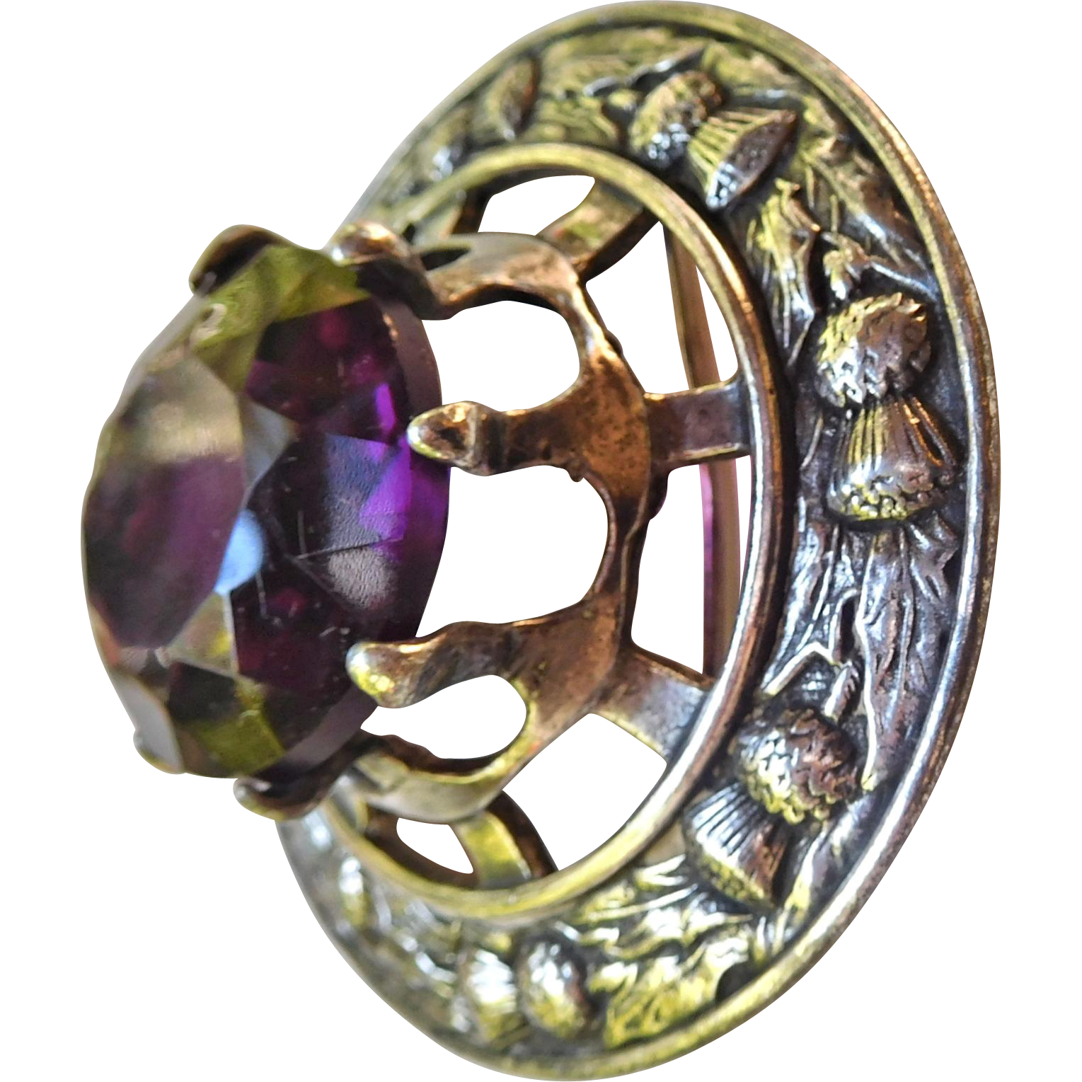 Huge Antique Kilt Pin/Brooch/Pendant Purple Glass Stone