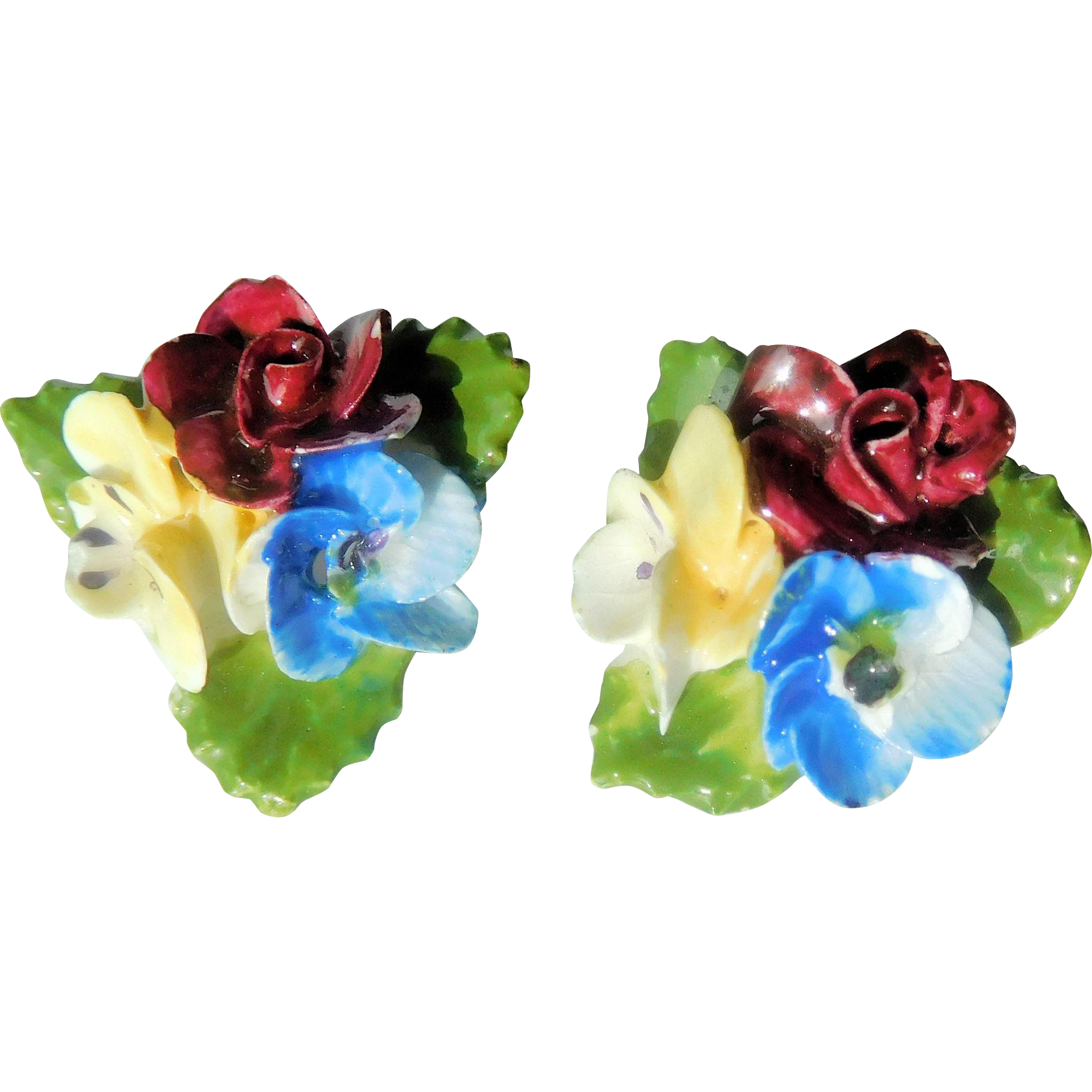 Bone China Floral Earrings