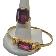 Avon Amethyst Glass Ring and Bracelet