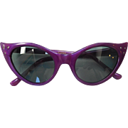 Purple Cats Eye Sunglasses with Rhinestones