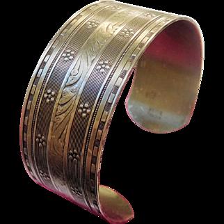Victorian Aesthetic Era Cuff Bracelet, Nickel-Silver, Floral