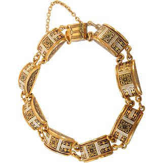 Damascene Bracelet with Decorative Links
