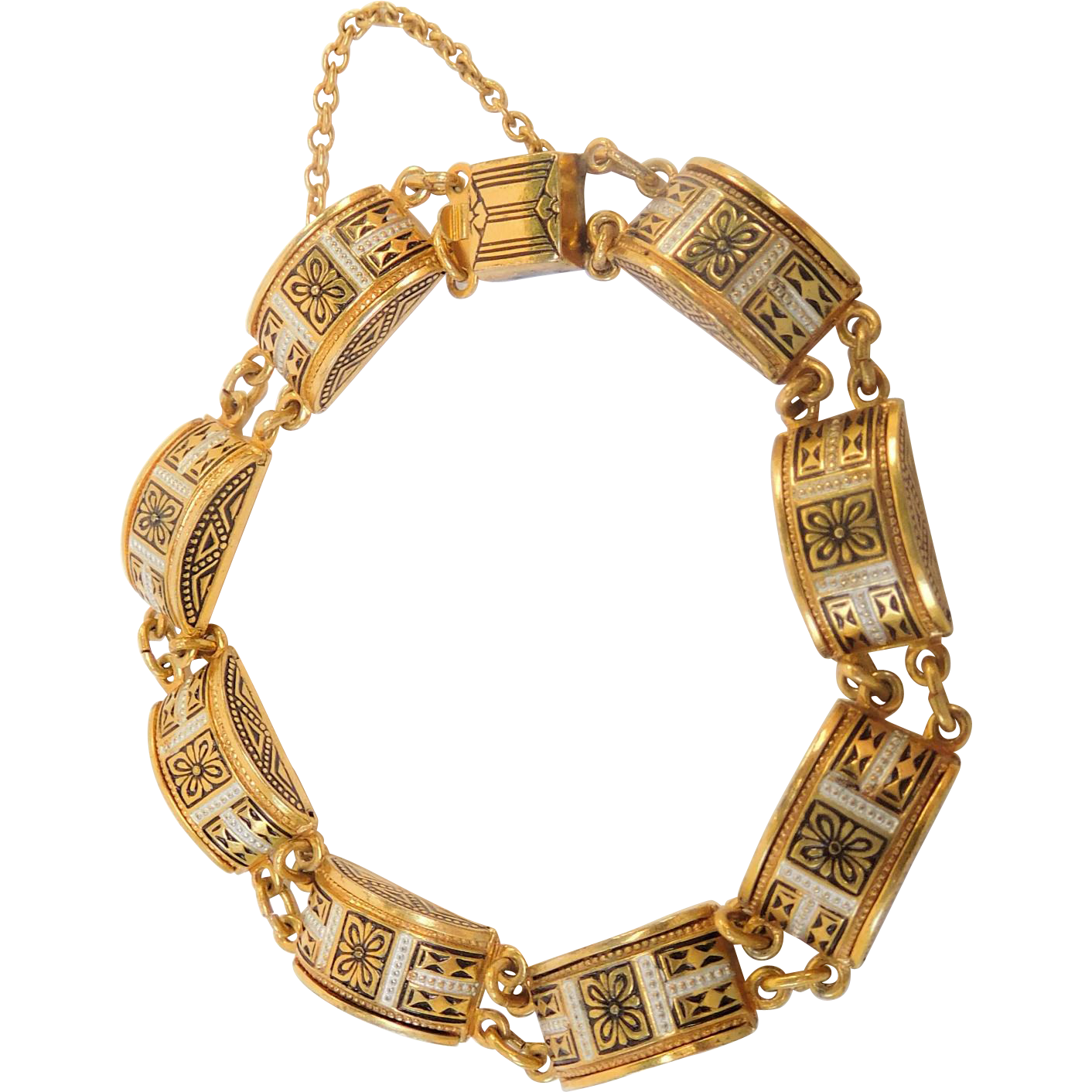 Damascene Bracelet with Decorative Links
