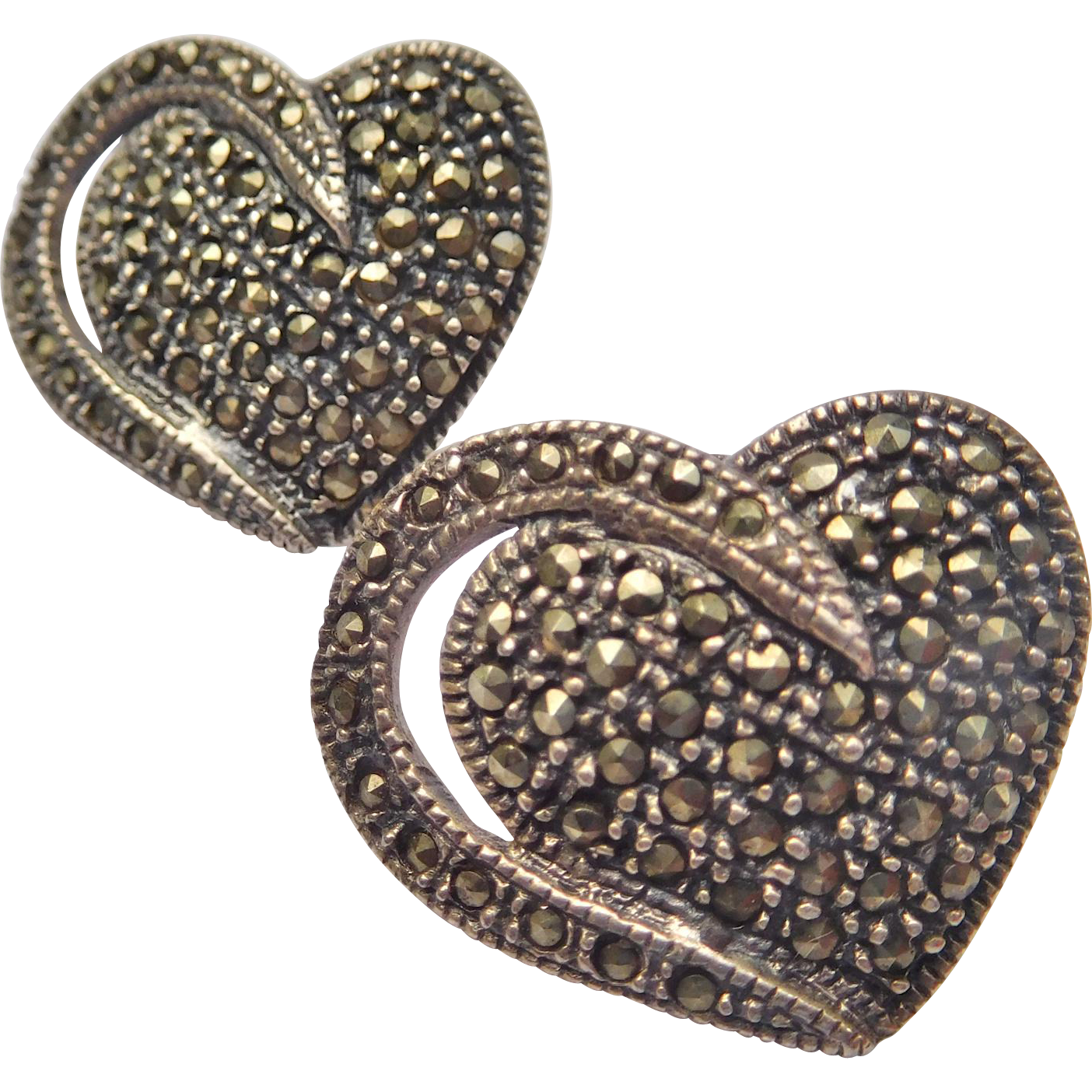 Heart Shaped Sterling and Marcasite Post Earrings