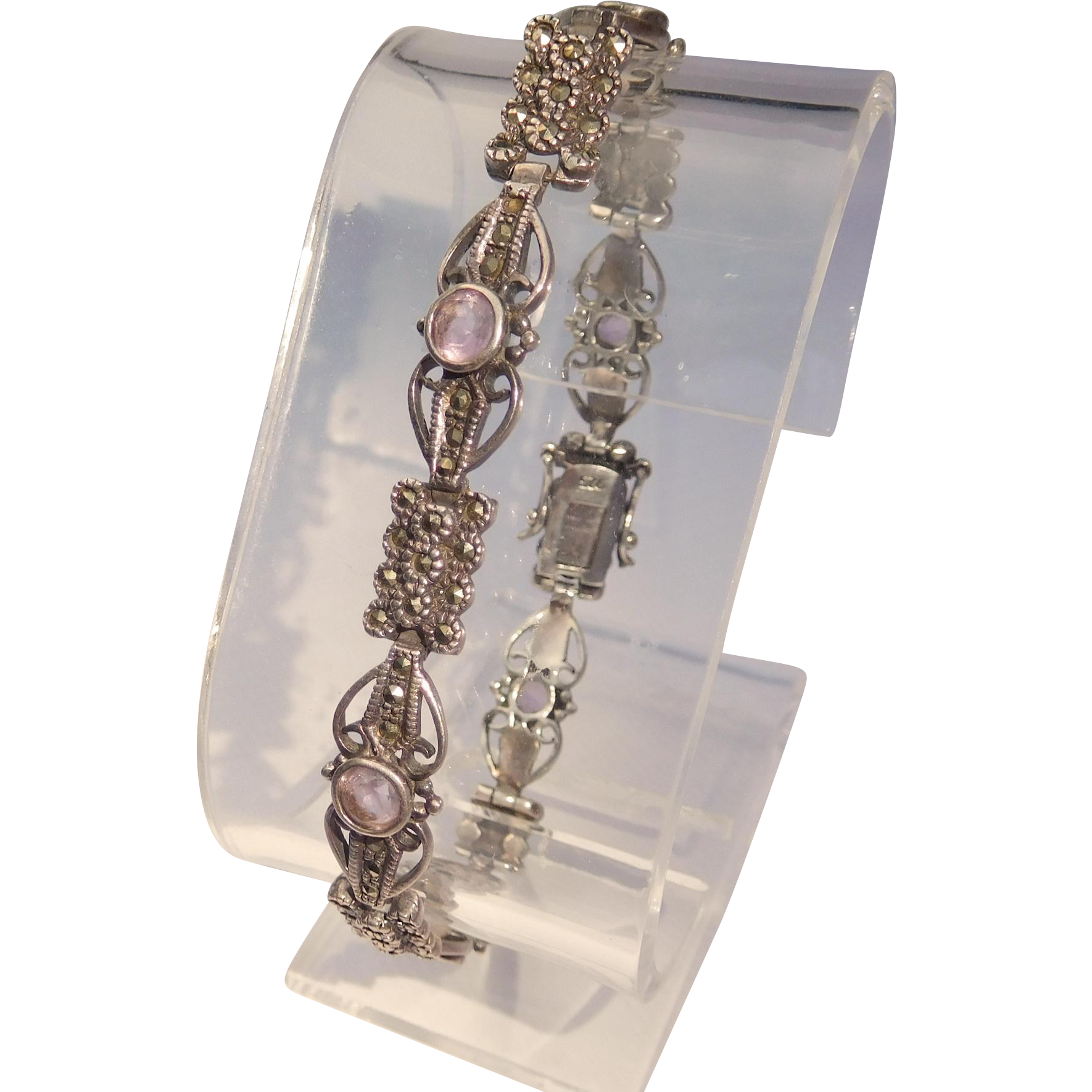 Sterling, Marcasite, and Amethyst Bracelet