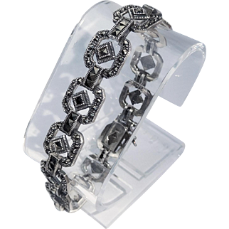 Deco Style Sterling Silver and Marcasite Bracelet – Extra Long