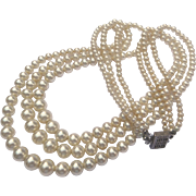 Triple-Strand Graduated Glass Pearl Necklace with Sterling Silver Box Clasp