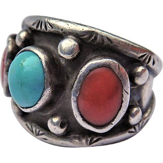 Native American Sterling Ring, Signed JB