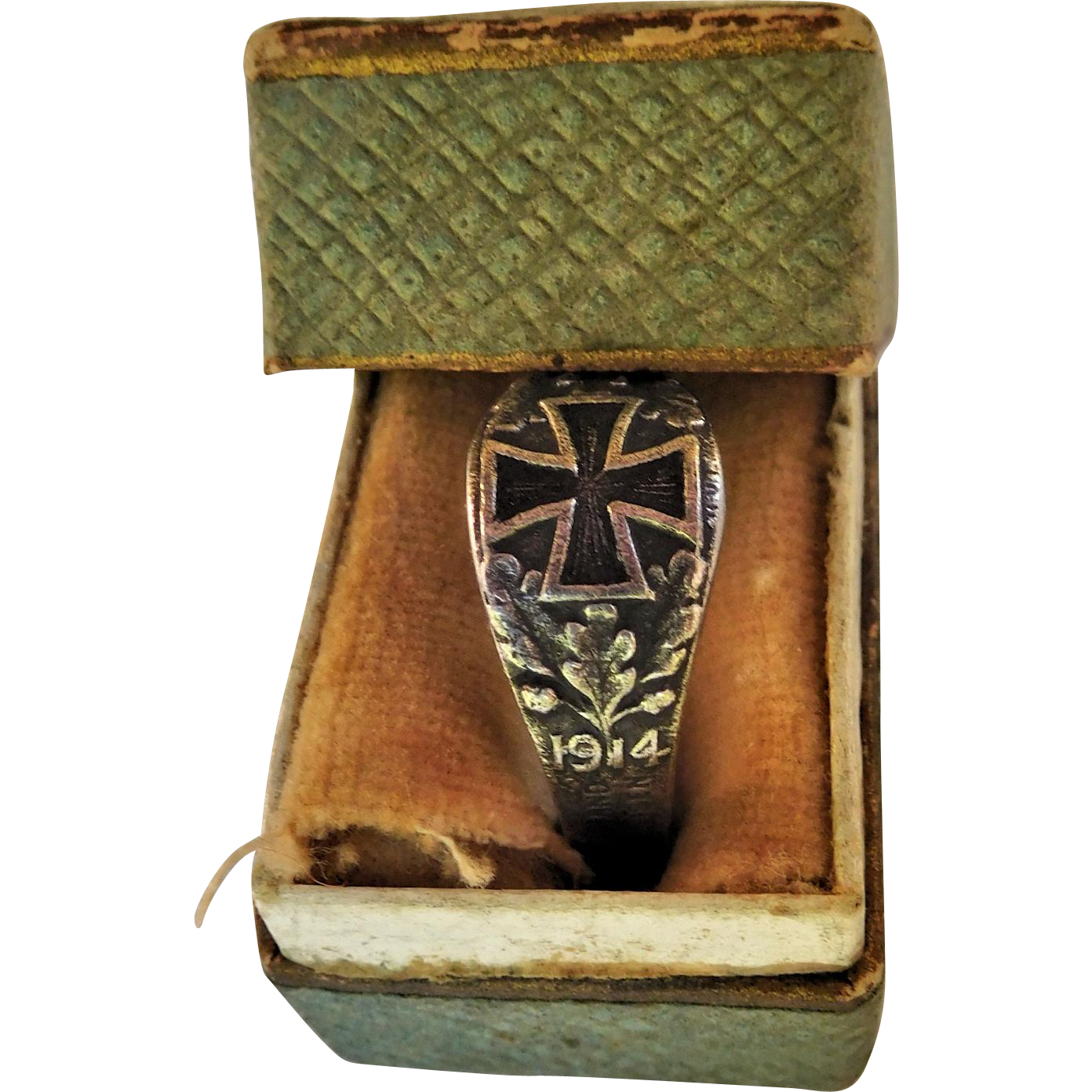 German WWI Iron Cross Ring in Original Box