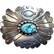 Native American Silver and Turquoise Belt Buckle