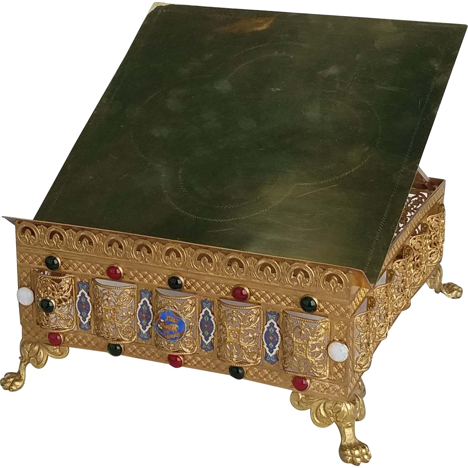 Antique French Jeweled Gilded Brass Bible Stand with Enamel Plaques